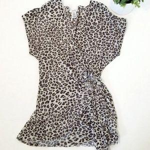 Cache Leopard Print Faux Wrap Top Medium
